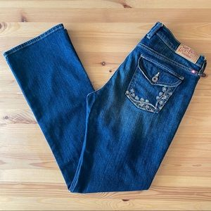Lucky Brand embroidered straight leg jeans, 29/8